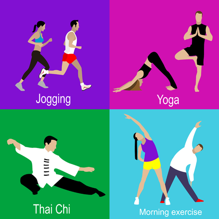 chi: Four infographic icons on sports. Man and woman doing jogging, yoga, Tai Chi, Chi Kung, morning exercise Illustration