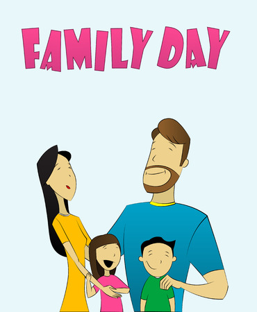 hapiness: illustration of family with father, mother, daughter and son. Illustration