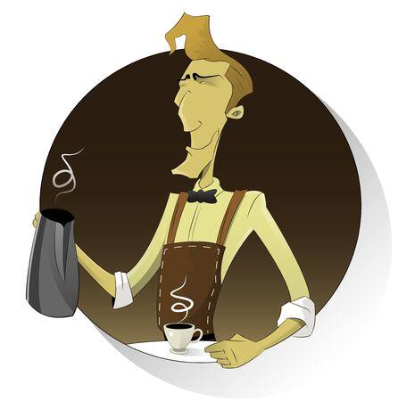 barista: Cartoon smiling  barista  in apron making coffee . Character vector illustration.