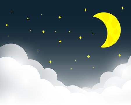 Vector de la noche el cielo de fondo estrellas y la luna.