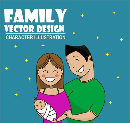 planificacion familiar: historieta linda pareja joven que detiene al bebé y sonriente. familia feliz, el cuidado, la crianza, la planificación familiar concepto de ilustración. Vector Vectores