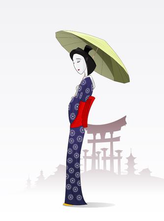 Mujer japonesa en kimono tradicional. En las manos de geisha que sostiene el paraguas. Los pies de una mujer japonesa tradicional de la mujer. ilustración vectorial en capas