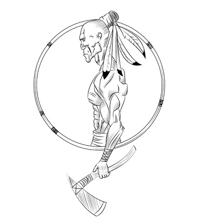 tomahawk: Native American Indian with tomahawk in his hand. Vector symbol illustration