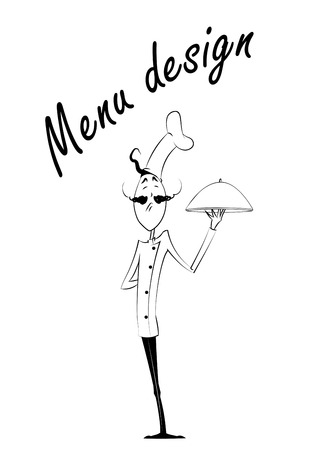 arrogant: Black and white cartoon chef with dish over white background. Vector menu illustration