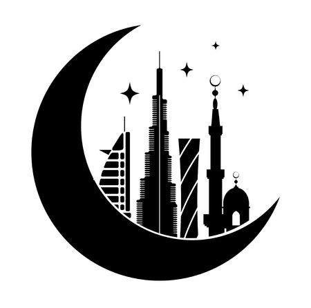 Dubai city symbol with moon silhouette. Vector illustration