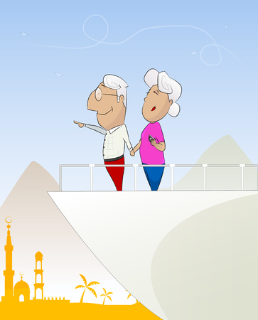 cruise liner: Happy old couple looking travel on yacht or cruise liner. Vacation, travel around the world concept illustration. Layered Vector illustration Illustration