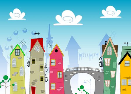 Vector cartoon Landscape Town with bridge and clouds.
