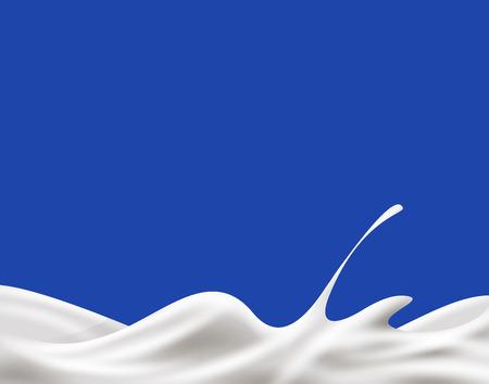 Milk, yogurt or cream wave on blue background.