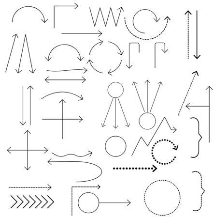 Set of arrows vector illustration. Design elements. Simple