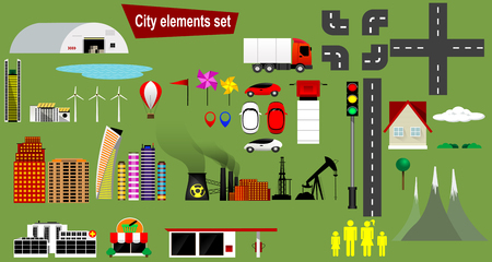 site map: Cityscape design elements with lake, road, park, transport, people, office buildings, hospital,truck, trees set, gas station, shop,factory. May be used for web site, brochure design, infographics template, map, vector illustration