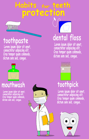 Dental care and health vector infographic with dentist, cartoon tooth, toothpick, toothpaste,dental floss, mothwash Illustration