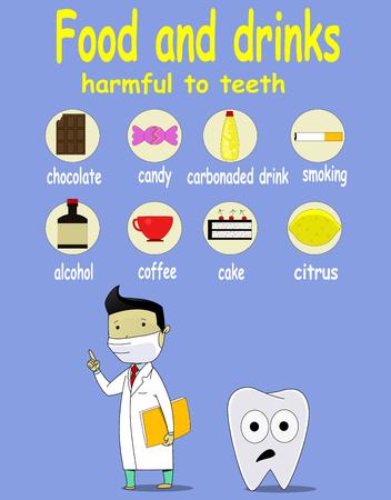 alimentos y bebidas: De dibujos animados infografía sobre la comida y la bebida daños dientes problema dental, gran concepto de cuidado dental. Vector