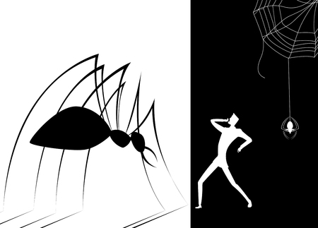coward: Shadow spider scare human .The concept of fears, phobias, depression, danger, crisis, despair
