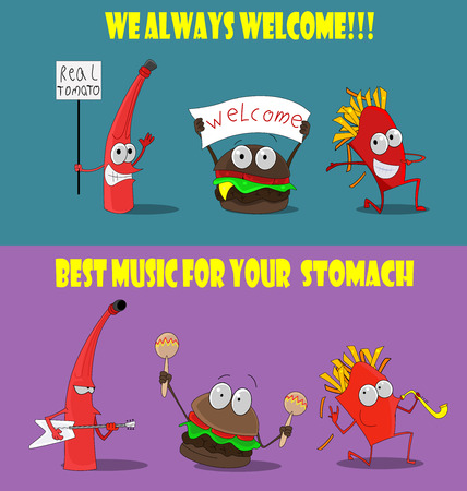Group of friendly Fast Food meals. They are happy visitor, greeted him, play musical instruments. Funny design for promotional items, banners, postcards. Vector. Second set Ilustrace