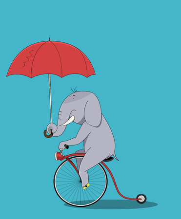 Cute elephant cartoon sitting. Elephant rides a bicycle and holding a parasol. The concept of travel and eccentricity