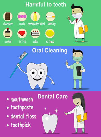 damaging: dental banners on dental hygiene. On the banners listed products are damaging teeth, dentifrice and dental image characters. Can be used as elements of infographics and information banners. Vecor Illustration