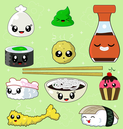 japanese cuisine: Sushi Collection with soy sauce, shrimp tempura, potatoes, noodles, chopsticks, anago sushi, tako sushi, kappa sushi, wasabi. Japanese cuisine. Vector