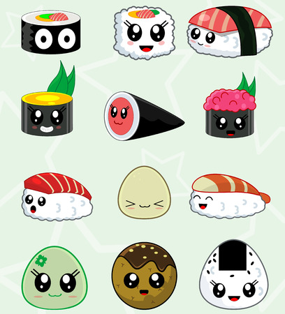 Cute Kawaii sushi set for restaurant menu. In set there are such kinds of sushi and rolls like ebi , kappa, toro, temaki, herame, unagi, futo, ikura. Japanese food. First set from three.