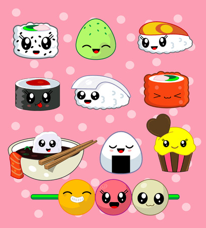 tekka: Cute kawaii sushi with cute faces. Sushi roll set with cake, california roll, sake, ika, tekka, masago, rise ball, udon . Japanese food, vector illustration set. Second from three