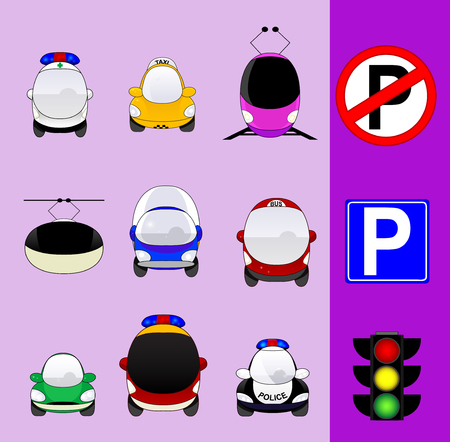 mini van: Set of various city traffic vehicles icons featuring taxi, hybrid car, delivery car, ambulance, police car, bus, MRT or train, cable railway, fire engine, mini van and parking signs and traffic light.