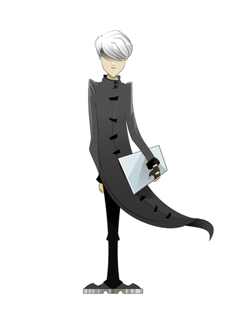 programming code: Programmer, coder, hacker, designer in long white cloak and white hair with laptop in hand. Manga style. Vector illustration on white background