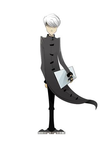 Programmer, coder, hacker, designer in long white cloak and white hair with laptop in hand. Manga style. Vector illustration on white background