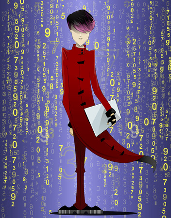 coder: Programmer, coder, hacker, designer in long red coat and pink hair with laptop in hand on futuristic abstract background. Manga style. Illustration