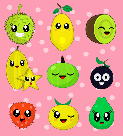 quince: Vector illustration sticker set of cute cartoon fruit characters in kawaii style. Here are durian, plum, kiwi, gooseberry, quince, guava, carambola, lychee, papaya . Third set