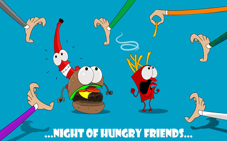 Cute and fun illustration of cartoon burger, potatoes, ketchup, fleeing from hungry people. Banner design for the cafe, menu, fast food. Vector characters Illustration