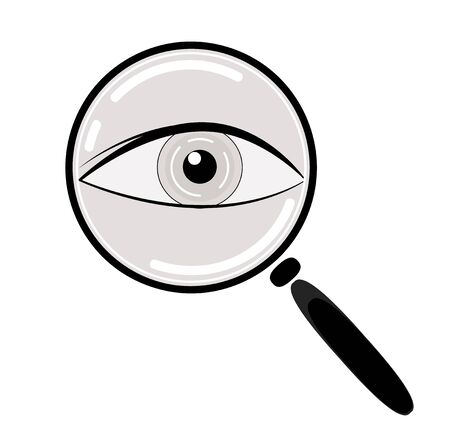 magnification icon: Eye in Magnification . Ophthalmic diagnostic, information search icon. Vector
