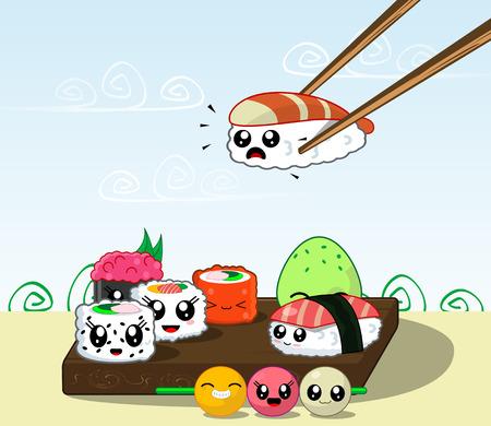 Fun cartoon Japanese cuisine, food. Illustration set of kawaii sushi, rolls, fast food. Vector Illustration