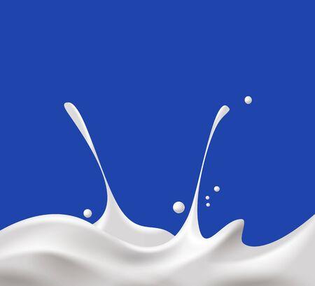 milkman: Milk, yogurt or cream wave on blue background.
