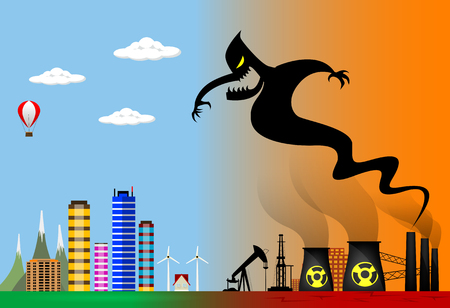 environmental disaster: Conceptual vector illustration about polluted smoke monster from factory chimney over city. Ecological disaster, industrial problems, environmental disaster. Illustration