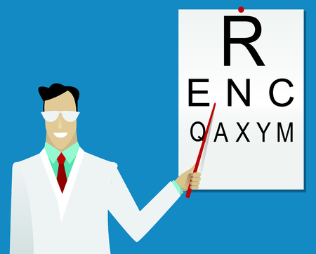 optician: Ophthalmologist examining patient using the tumbling eye chart. Vector illustration