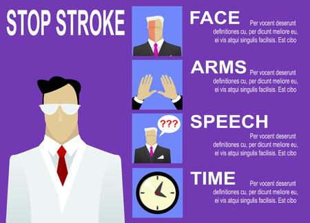 signos de precaucion: señales de advertencia de accidente cerebrovascular y síntomas de infografía. Vector ilustración médica