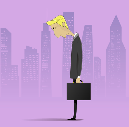 Sad businessman with case. Vector cartoon character on city background. Crisis concept