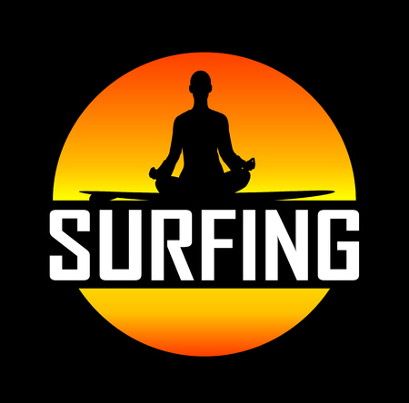 mindfulness: Silhouette of man sitting on surfboard and meditates .Vector illustration on the theme of relaxation, mindfulness practice, surfing. Illustration