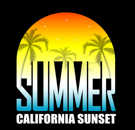 oncept: Summer background with palms and stars on sunset. ?oncept of leisure travel.