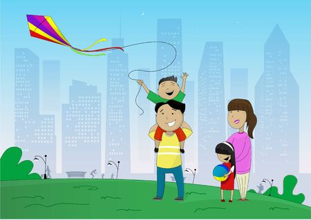 Vector illustration of happy family flying kite inpark on the outskirts of the city in cartoon style. Concept of joint weekend, weekend, family vacation.