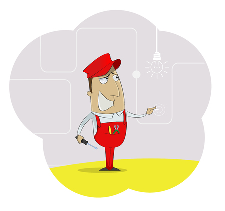Service illustration of funny electrician with screwdriver in his hand. Vector Illustration