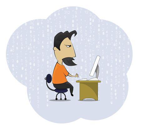 Cartoon mittleren Alters Arbeit Süchtigen Aussenseiter am Computer Schreibtisch sitzen. Cartoon-Stil Vektor-Illustration auf abstrakten Hintergrund.