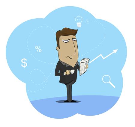 Illustrazione di uomo d'affari azienda tazza di caffè del mattino e il giornale leggere. Concetto di attività commerciali, politiche o legali