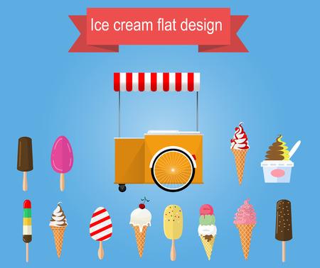 ice cream cart: Retro vettore gelato carrello con diversi tipi di gelato. Vector design piatto Vettoriali