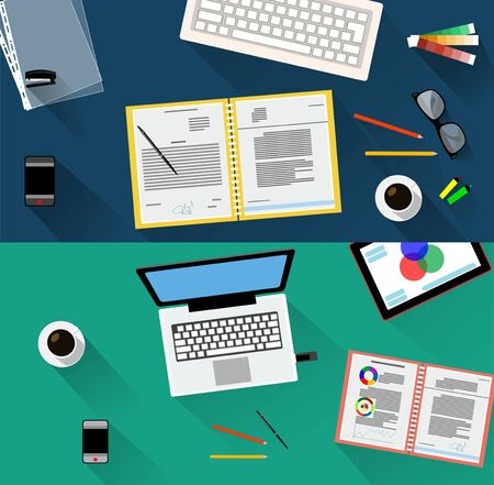 working place: Business meeting. Working place in flat design. Two banners Vector illustration Illustration