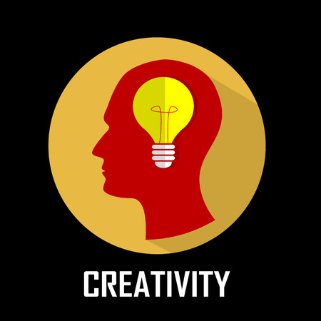 emergence: Concept of innovation, creativity, emergence of idea.Shining lamp into the brain. Vector