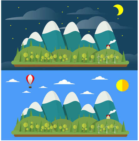 Two modern flat design conceptual landscapes with house and mountains. Illustrations of beautiful forest scenes at day and night.