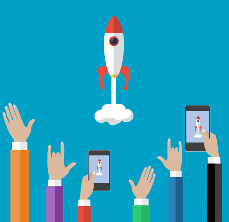 people celebrating: Vector concepts and icons in flat style. Start up and innovation, good teamwork business illustration. Crowd of people celebrating successful startup