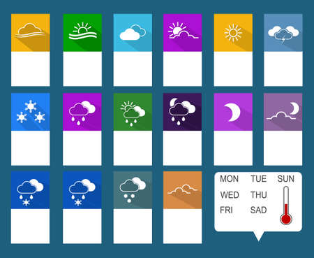 Set of flat icons with long shadow for mobile app and web. Vector