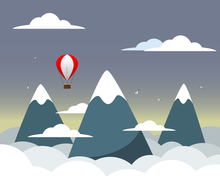 difficulties: Flat design modern vector illustration concept with mountain peak, meaning overcoming difficulties, goal achievement, strategy for winners and focusing on results. Vector