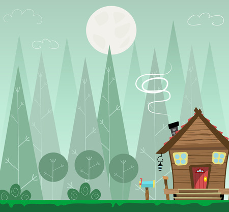 wilds: Night forest landscape and house, shelter for tourists or hikers. Illustration